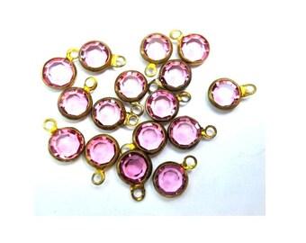 6 Vintage beads, 1 loop dangling brass channel beads Swarovski PINK crystal drop beads