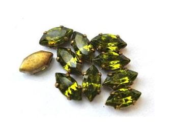6 Vintage Swarovski green crystals mounted in brass setting RARE, antique vintage cut 1100