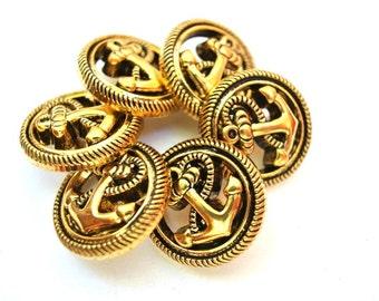6 Vintage buttons, gold color anchor  21mm
