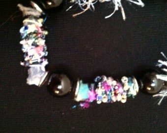 Funky Handmade beads and repurposed beaded necklace