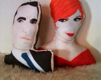 Madmen Joan and don draper pillow people set of two.