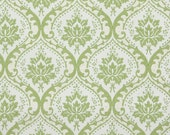 1950's Vintage Wallpaper - Green and White Victorian Damask