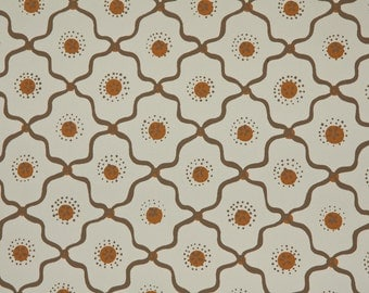 1950's Vintage Wallpaper - Geometric Wallpaper with Brown and White Design