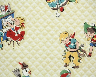 1950's Vintage Wallpaper - Children's Wallpaper Nursery Design with Cowboys and Kids Playing Piano and Drums
