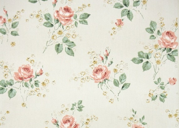 1950 39 s vintage wallpaper floral vintage by hannahstreasures. Black Bedroom Furniture Sets. Home Design Ideas