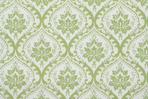 1950 39 s vintage wallpaper green and white by hannahstreasures for Green and white wallpaper