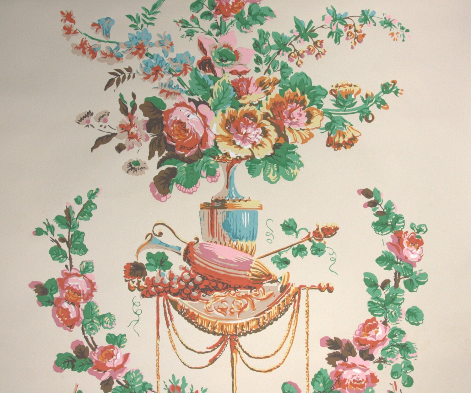 1950s vintage wallpaper by the yard victorian floral for Old french wallpaper