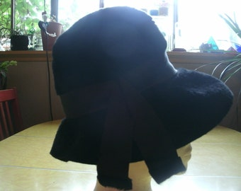 Vintage 60s Black Floppy Hat, Faux Fur, Lilli of California, Duchess, Italy