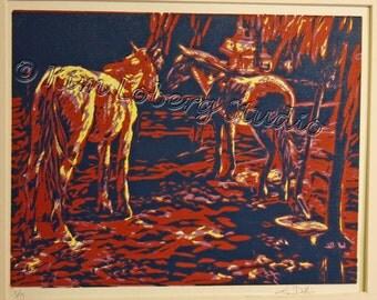 Horses Fine Art  Reduction original hand pulled Print by Nebraska Artist Kim Loberg EBSQ WHOA Team