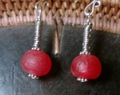 Earrings: Red Ghana recycled glass bead with Ethiopian metal ring beads and sterling spacers