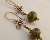 Copper and Muli Color Lampwork Earrings - Olive Green, Amber and Black