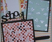 School...boy...TWO completed 12x12 Premade Scrapbook pages