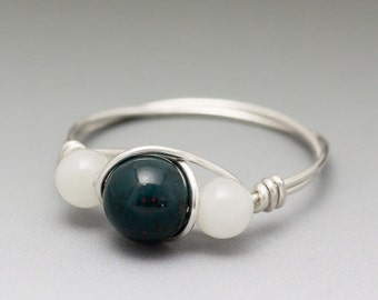 Bloodstone & Moonstone Sterling Silver Wire Wrapped Bead Ring - Made to Order, Ships Fast!