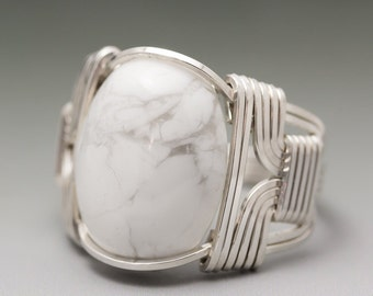 White Howlite Cabochon Sterling Silver Wire Wrapped Ring - Made to Order and Ships Fast!