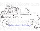 Harvest Farm Truck - Instant Download Digital Stamp