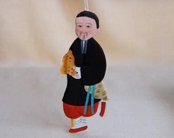 Vintage Chinese Mythology Handpainted Silk and Paper Doll, Ornament, Shrine Decoration, One of the Eight Immortals Legend, Li T'ieh-Kuai