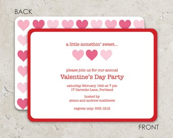 Valentine's Day Party Invitation - three hearts -  Fun 2-sided Design on premium cardstock