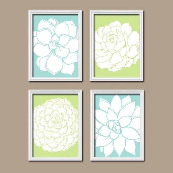 Bathroom decor bathroom wall art canvas or prints succulent for Bathroom decor etsy