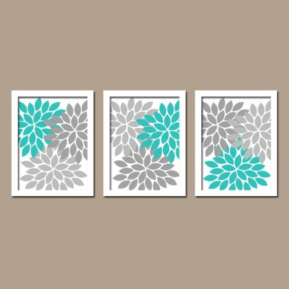 Turquoise gray wall art bedroom pictures canvas or by for Turquoise and gray bathroom accessories
