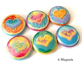 Hearts Love refrigerator MAGNETS 1 inch heart valentine shower party favors stocking stuffers flair fridge shower gifts button pins gifts