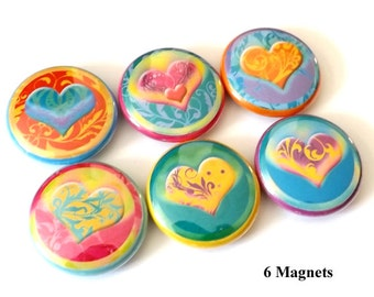 Fridge Magnet Set Hearts Love refrigerator 1 inch valentine shower party favor stocking stuffers flair fridge shower gift button pins