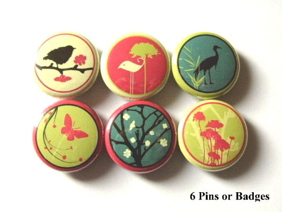 Retro Bird PINBACKS button PINS BADGES butterfly mod flowers crane tree party favors stocking stuffers flair magnets wine charms gifts flair