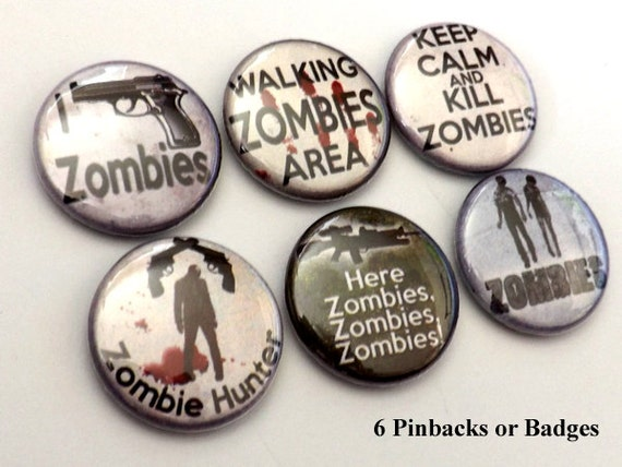 Zombie Hunter PINBACKS pins badges pinback buttons zombie hunter pins keep calm kill zombies badges goth macabre halloween party favors gift