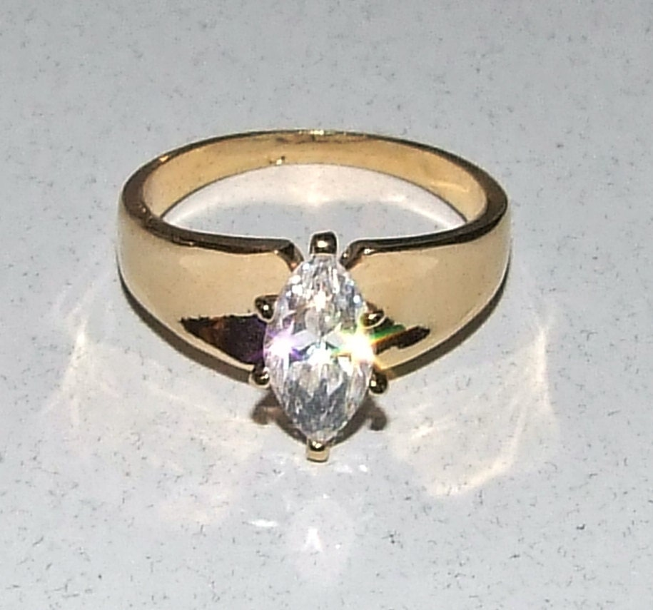 Vintage Sterling Marquise Engagement Ring 14k Gold Vermeil