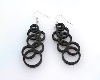 Black Circle Earrings Geometric Acrylic Perspex Bubbles on Sterling Silver Ear Hoops