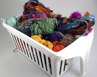Recycled Silk Sari Ribbon Cuttings 1 lb plus!