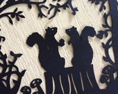 Squirrel Loves Acorn Silhouette Scherenschnitte Cut Paper Art