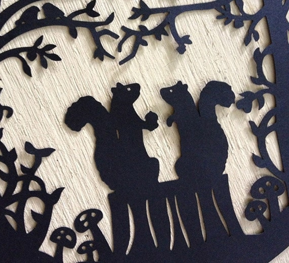 Squirrel Loves Acorn Paper Cutting Silhouette Scherenschnitte Art Squirrels Nestled in the Woods Black and White