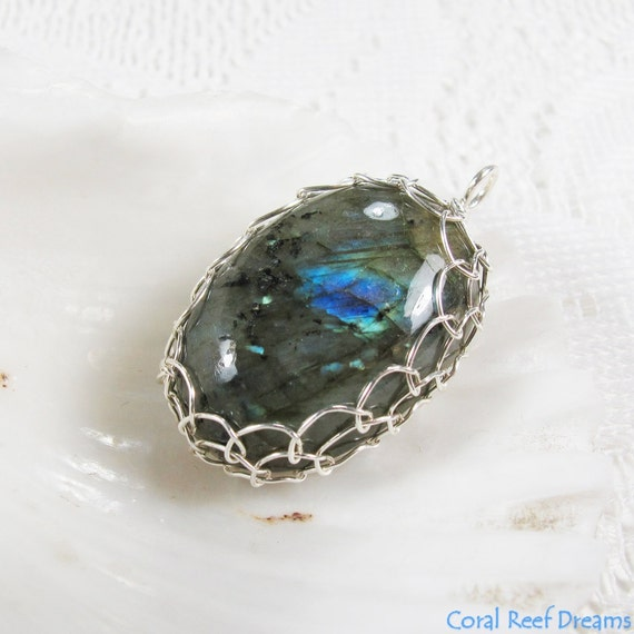Netted Labradorite Pendant - Wire Wrapped Oval Blue Flash Labradorite Cabochon, Sterling Silver, OOAK, Chain Optional (P0043)