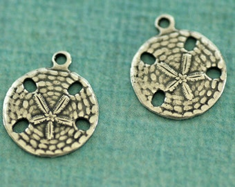 NEW 2 Small Silver Sand Dollar Charms 3248