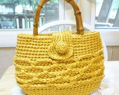 Vintage Sisal Straw Purse by GABRIELLE, for GIMBLES,  Yellow Straw Purse, Spring Purse, Yellow Purse, Spring Fashion