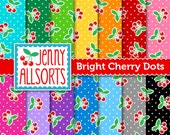 Retro Cherries Digital Papers Pack - 14 sheets in rainbow colors - for invites, card making, digital scrapbooking