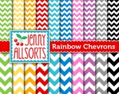 Two sizes Chevron Digital Scrapbook Papers - 20 Sheets in Rainbow Colors - Instant Download