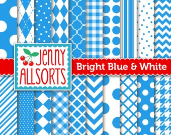 Bright Blue Digital Scrapbook Papers - 20 Graphic Pattern Sheets - Instant Download