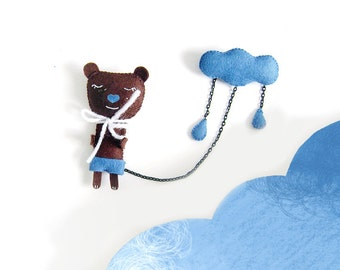 A Bear and a cloud - brooche - felt - cloud brooch
