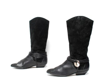 size 9 EQUESTRIAN black leather 80s 90s BUCKLE CONCH ankle strap boots