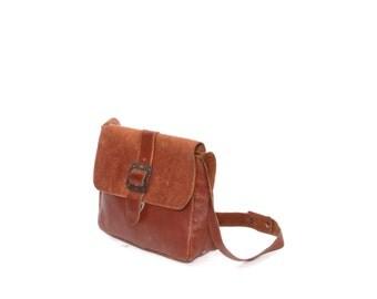 BOHEMIAN boho mod brown leather 60s 70s MINI buckle PURSE shoulder bag