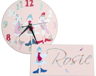 Fairies Clock and Personalized Door Sign Gift Set / Children's / Girls Wall Clock / Personalised Plaque / Nursery Decor