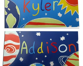 Space Door Sign - Personalized / Boys Door Sign / Outer Space Plaque - Blue