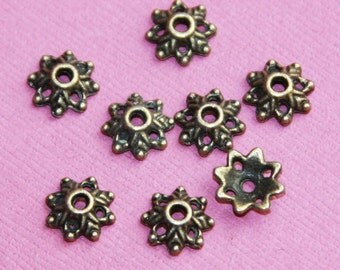 50 pcs of Antiqued Brass snowflake beadcap 8mm