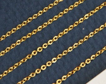 10 ft of Gold Plated very Flat Soldered Cable Chain 1.2mm
