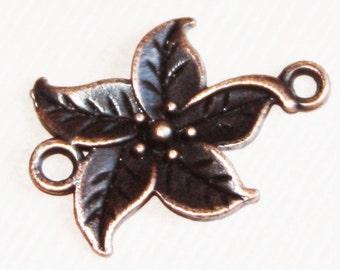 16 pcs of antique copper flower connector 17x14mm