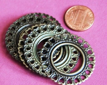 Antiqued Brass flat donut with heart lace 35mm 24pcs