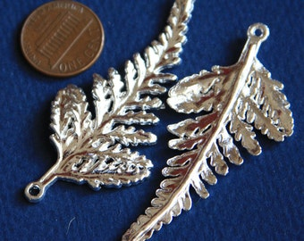 4 pcs of Silver plated leaf pendant 62x28mm