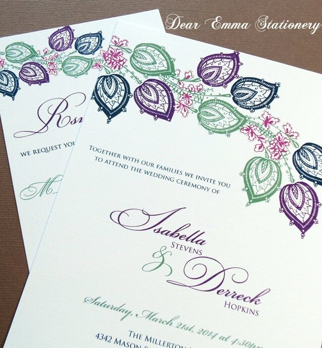 10% Off SALE Paisley Flowers Wedding Invitations