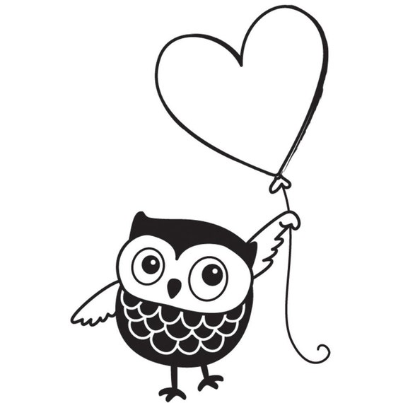 Items similar to Owl & Heart Balloon Rubber Stamp • Owl ...
